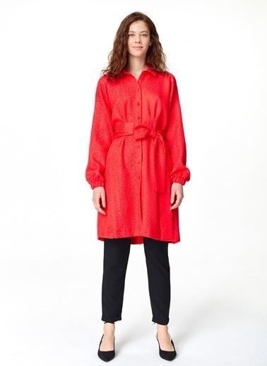 Mizalle Jakar Desenli Kuşaklı Tunik Elbise Kırmızı